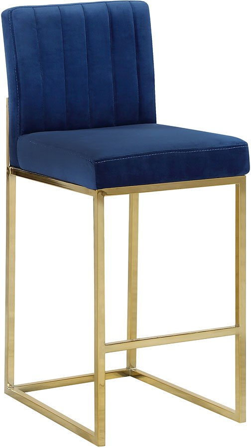 Giselle Counter Height Stool Navy Gold By Meridian