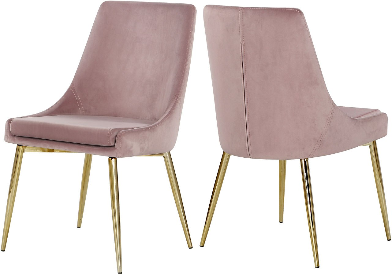 Karina Side Chair Pink Gold Set Of 2 By Meridian Furniture