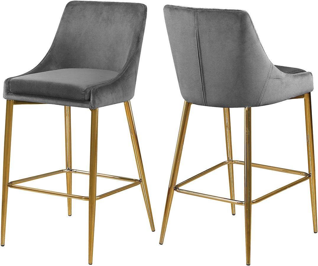 Karina Bar Counter Height Stool Grey Gold Set Of 2