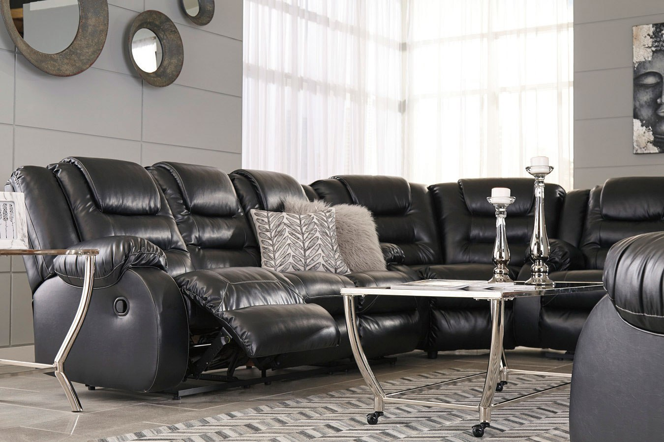 Prime Vacherie Black Reclining Sectional Set Gmtry Best Dining Table And Chair Ideas Images Gmtryco