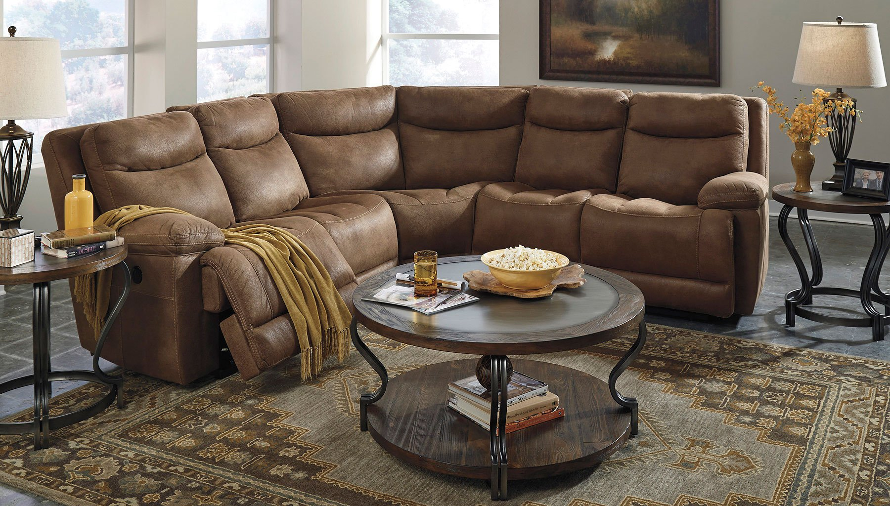 Valto Saddle Modular Reclining Sectional Set By Signature Design Ashley Furniturepick