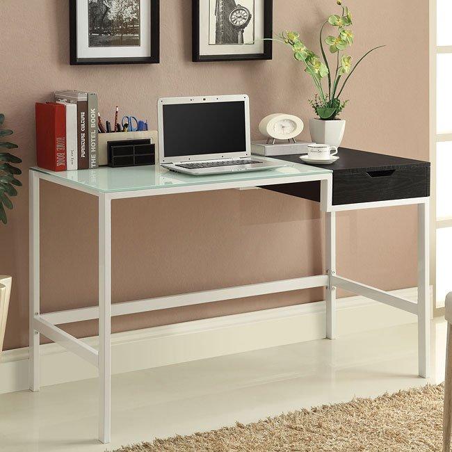 Frosted Glass Computer Desk W Storage Coaster Furniture Furniturepick