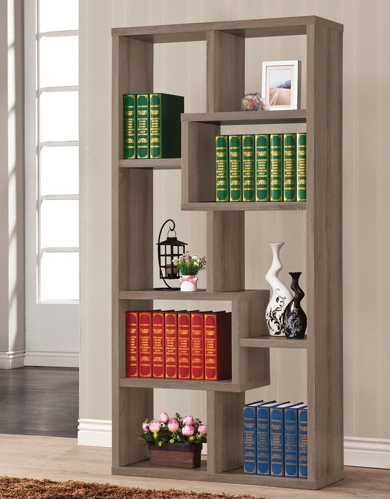 Ashley Furniture Sofas >> Geometric Bookcase (Weathered Grey) - Bookcases - Home Office Furniture - Home Office