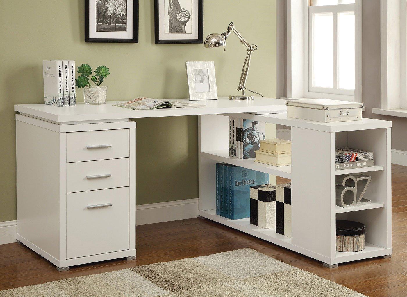 Yvette L Shape Office Desk White