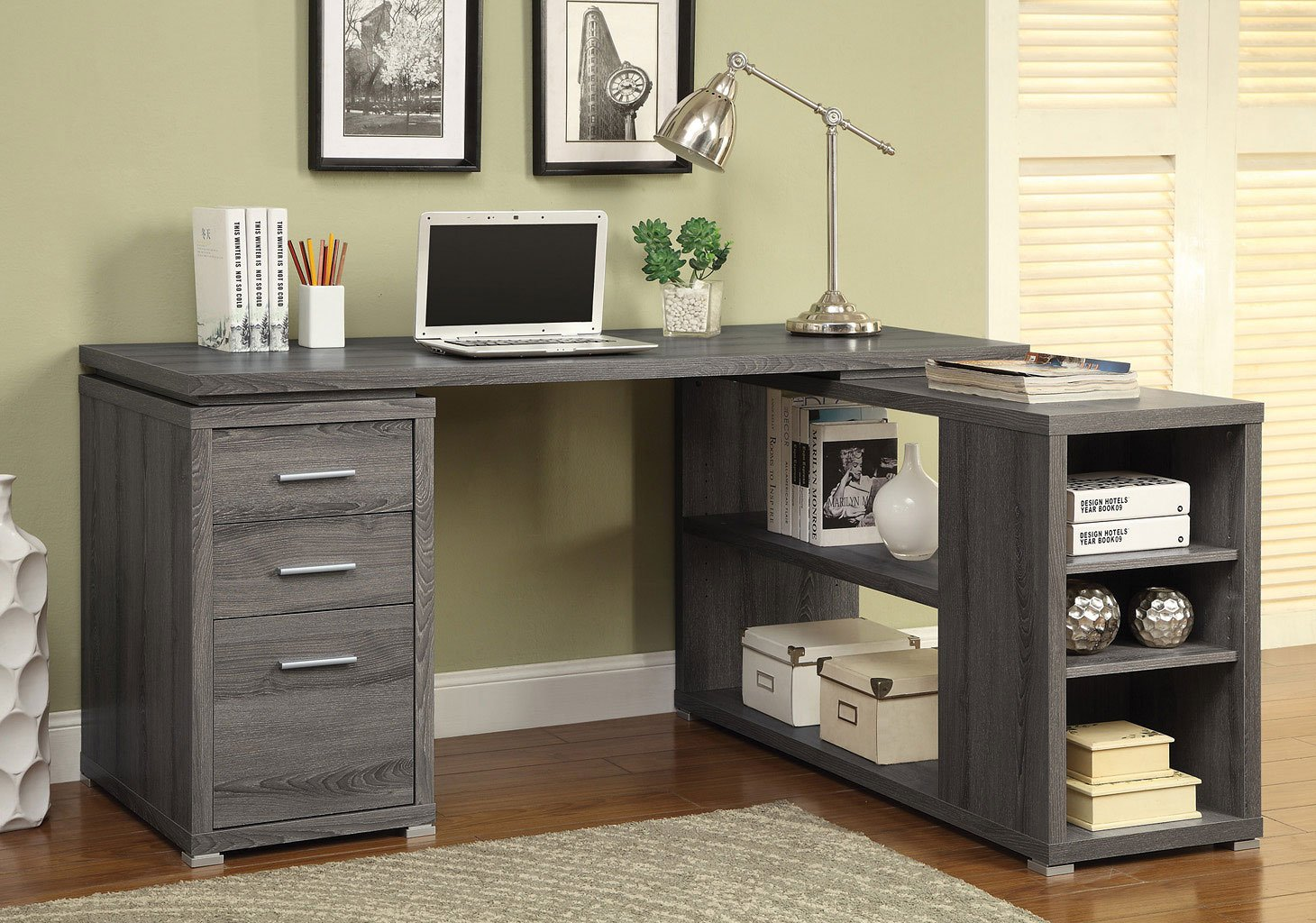 Yvette L Shape Office Desk Weathered Grey By Coaster Furniture 1 Review S Furniturepick