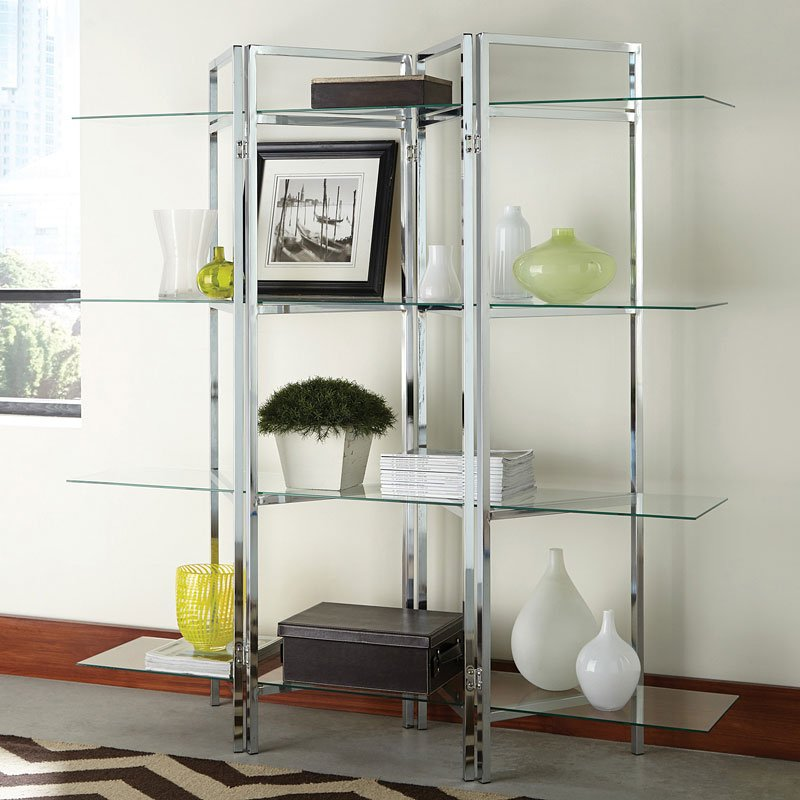 Divider-Shaped Chrome Bookcase w/ Glass Shelves - Home Office ...