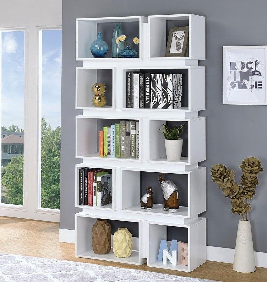 White Five Tier Bookcase By Coaster Furniture