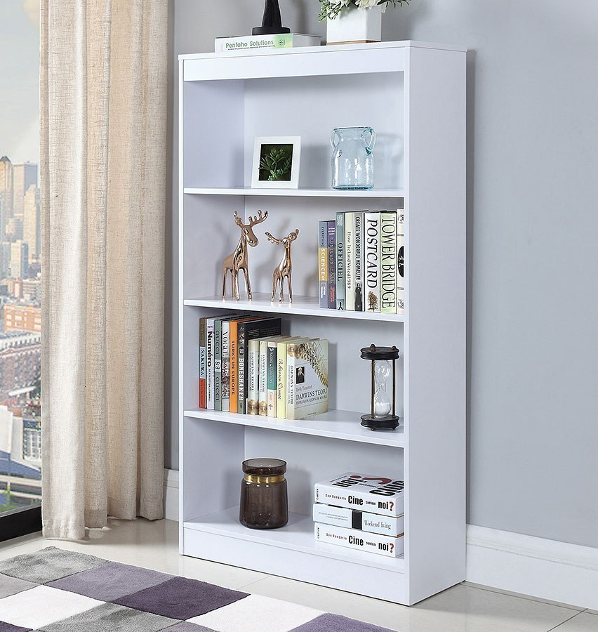 White Four Tier Bookcase By Coaster Furniture