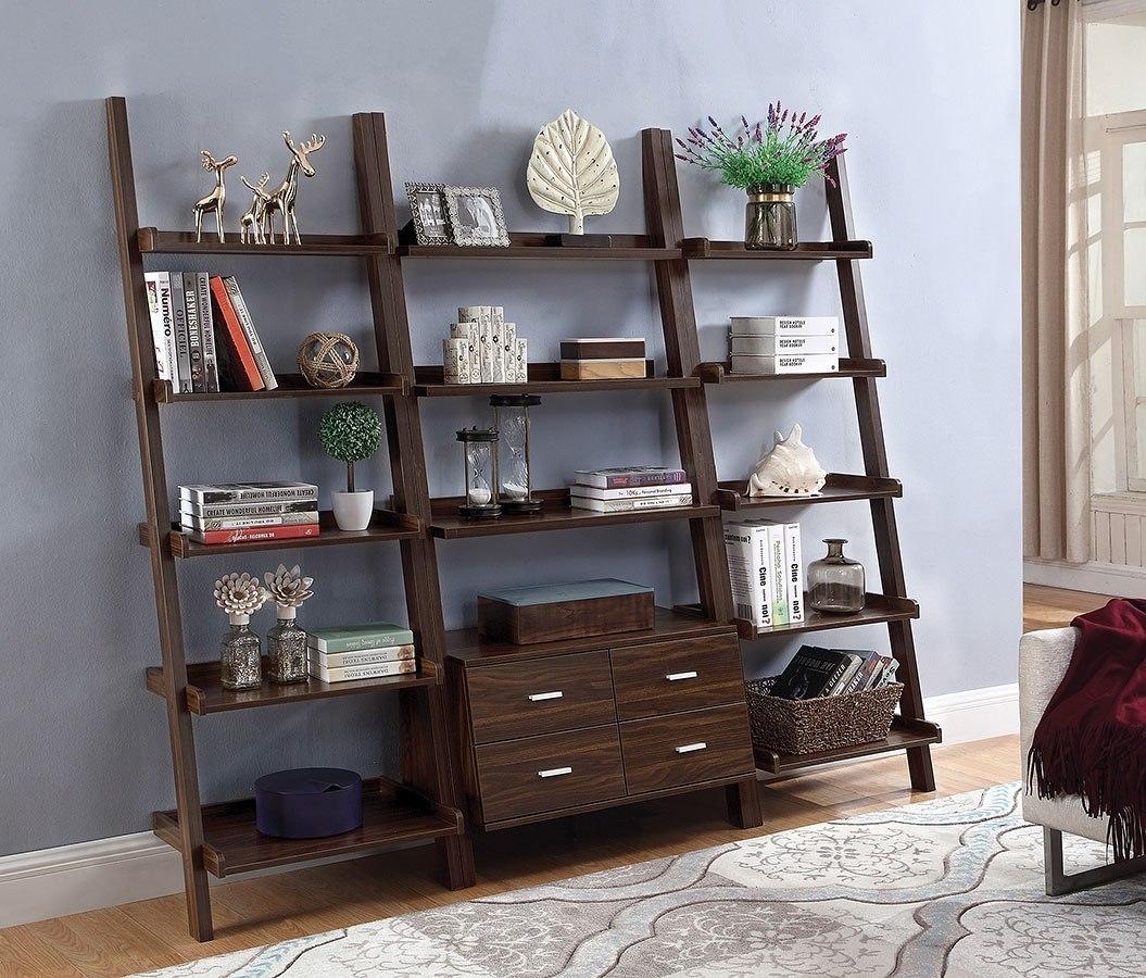 Dark Walnut Ladder Bookcase W Drawers