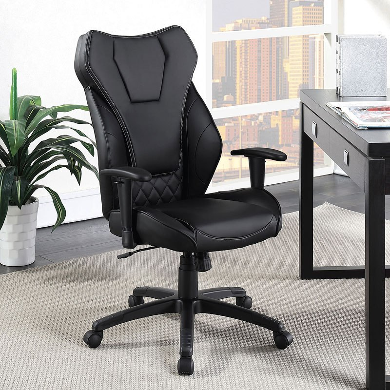 Black Leatherette Office Chair By Coaster Furniture