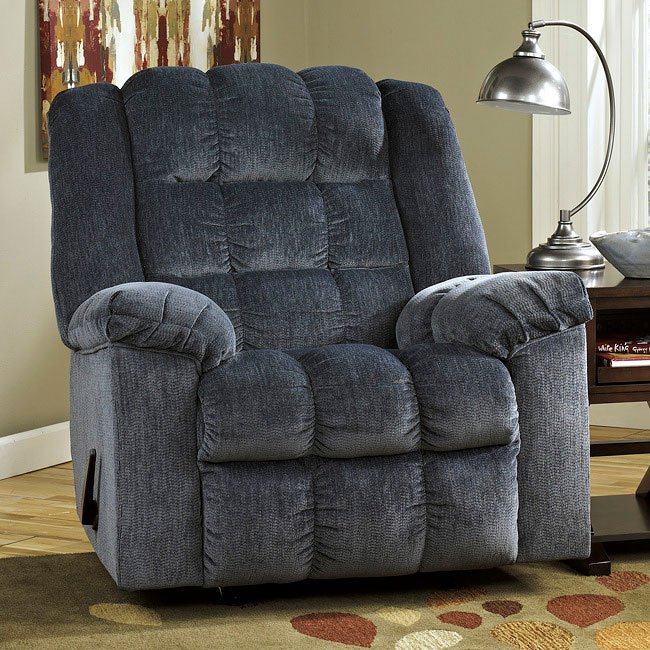 Ludden Blue Rocker Recliner By Signature Design By Ashley