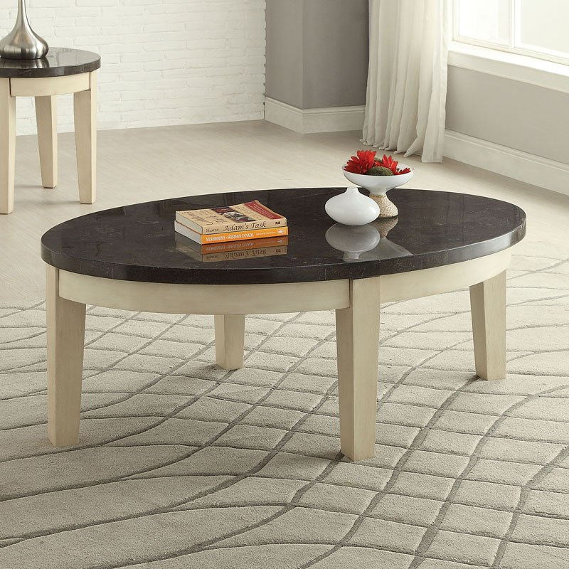 Faymoor Oval Coffee Table (Antique White)