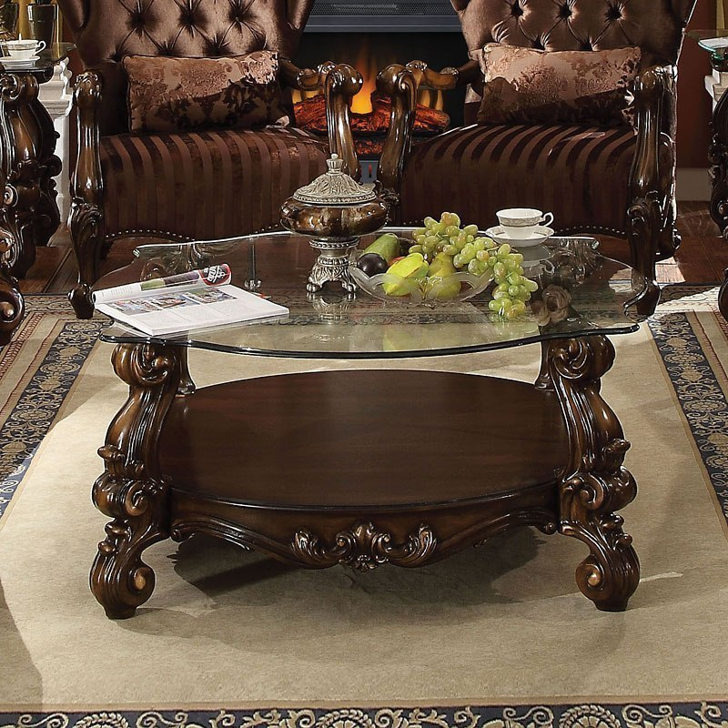 Versailles Square Coffee Table: Versailles Glass Top Coffee Table (Cherry Oak) By Acme