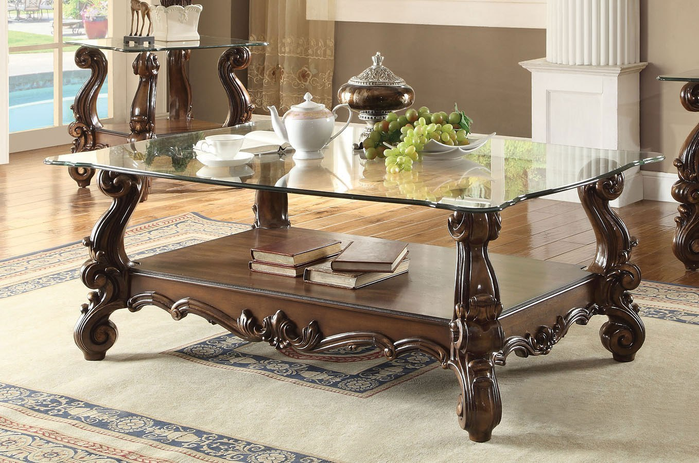 Versailles Gl Top Rectangular Coffee Table Cherry Oak