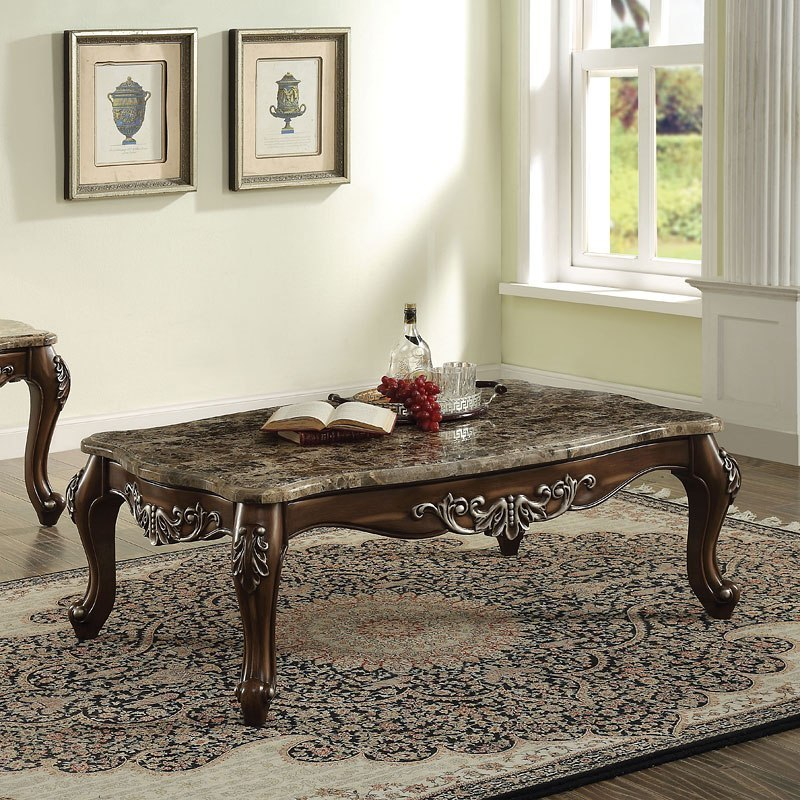 Best Marble Top Coffee Tables: Latisha Marble Top Coffee Table By Acme Furniture