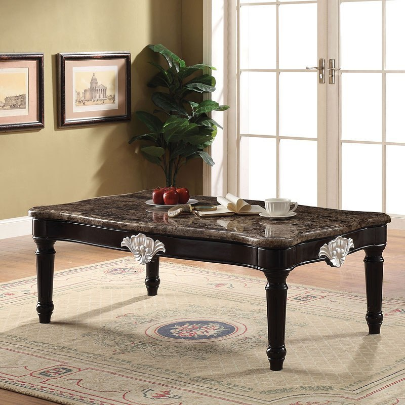 Marque Genuine Marble Top Coffee Table: Ernestine Marble Top Coffee Table By Acme Furniture