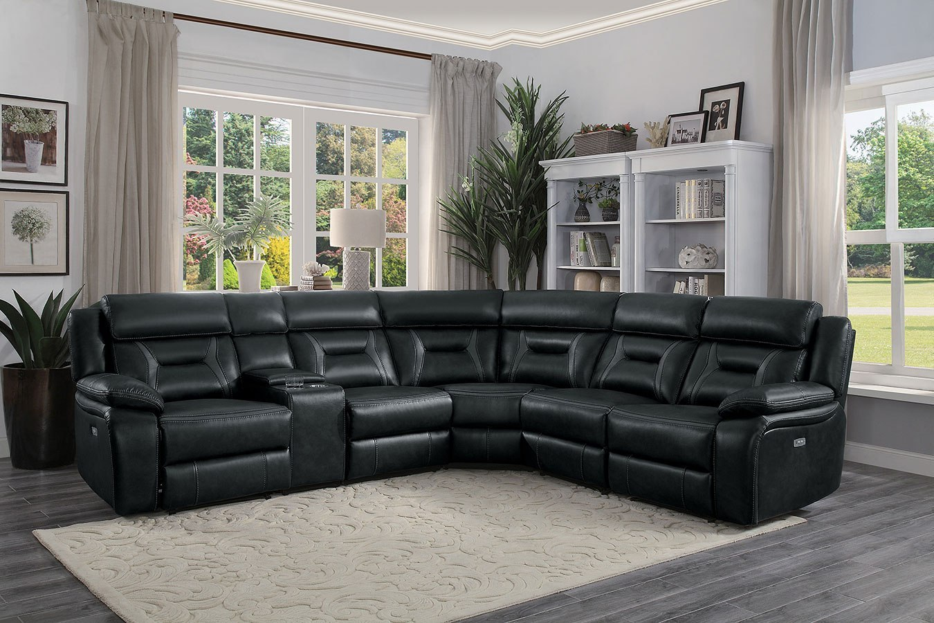 Amite Power Reclining Sectional Dark Gray By Homelegance