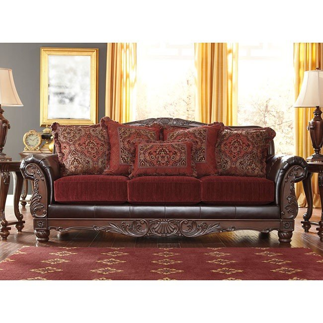 Weslynn Place Burgundy Sofa