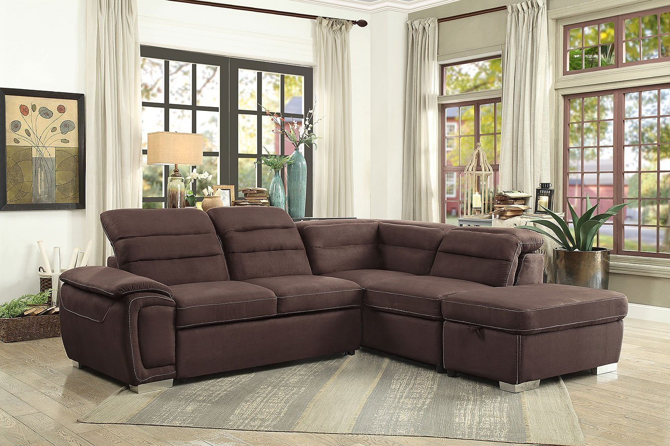 Platina Sectional W Pull Out Bed And Storage Ottoman By Homelegance