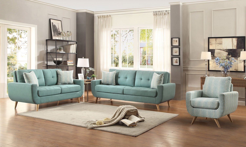 Deryn Living Room Set Teal