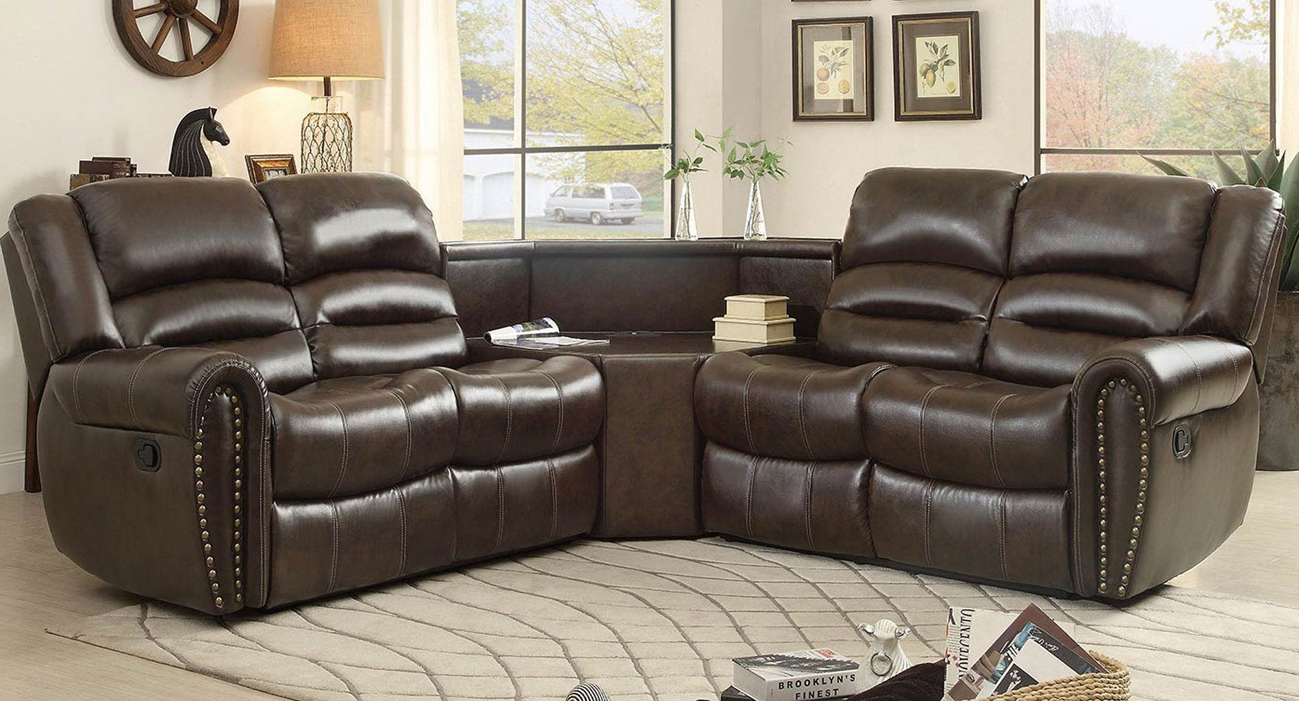 palmyra modular reclining sectional w table wedge sectionals living room furniture living. Black Bedroom Furniture Sets. Home Design Ideas