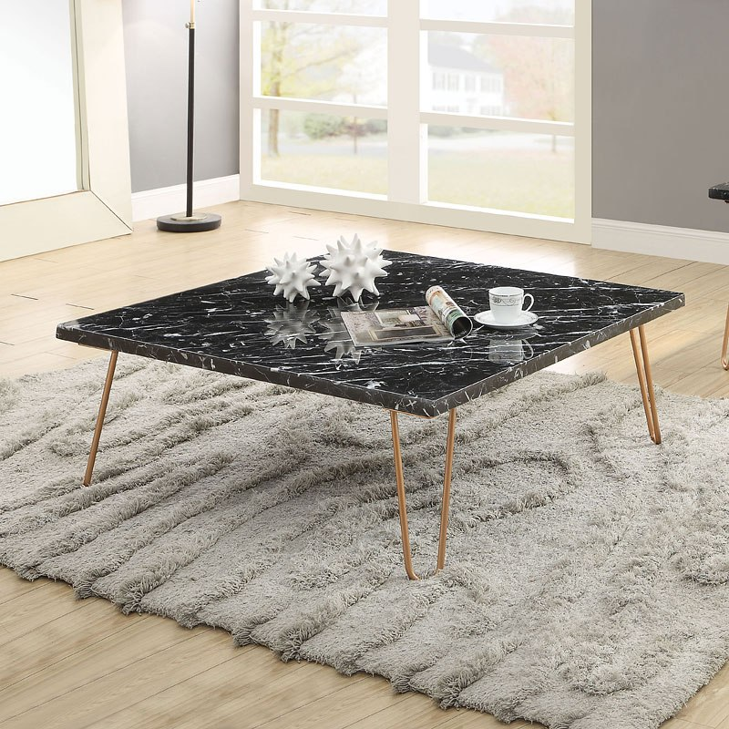Square Coffee Table Black Marble Gold