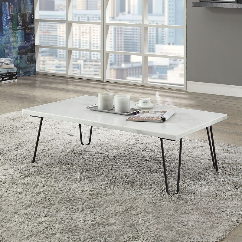 White Marble Top Coffee Table Rectangle: Telestis Rectangular Coffee Table (White Marble/ Black) By