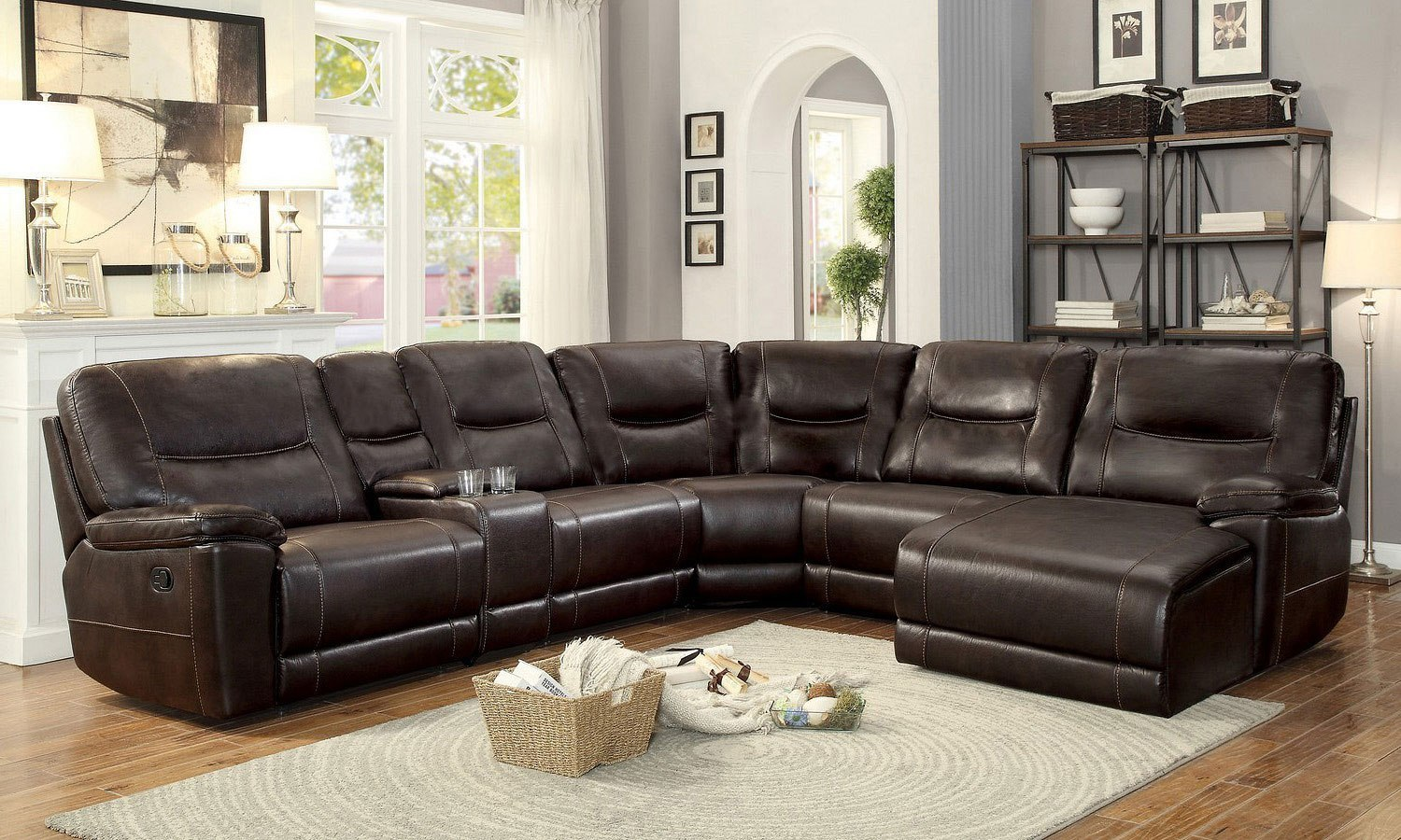 Columbus Modular Reclining Sectional W Chaise Dark Brown By Homelegance Furniturepick