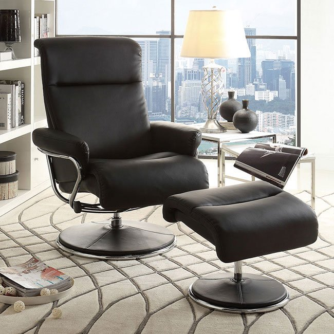 caius swivel reclining chair w ottoman black living room