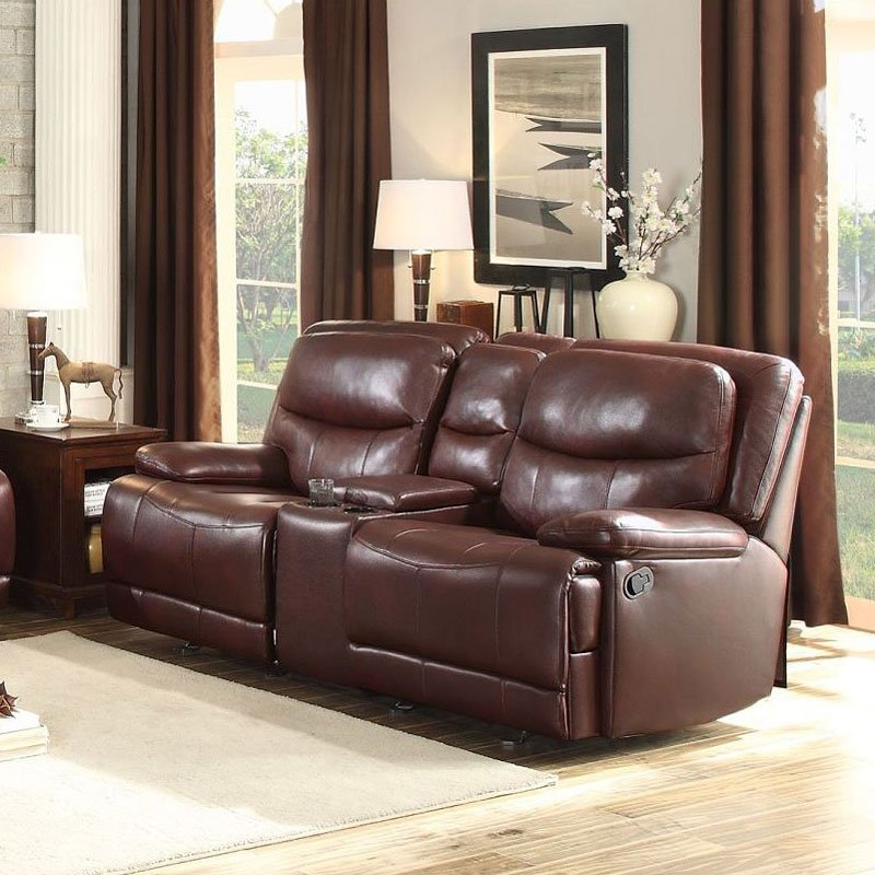 Risco Doble Glider Reclining Loveseat W Center Console Burgundy