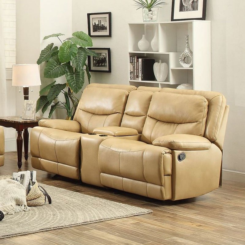 Risco Doble Glider Reclining Loveseat W Center Console Honey