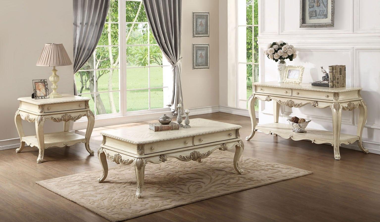 Ragenardus Occasional Table Set Antique White By Acme