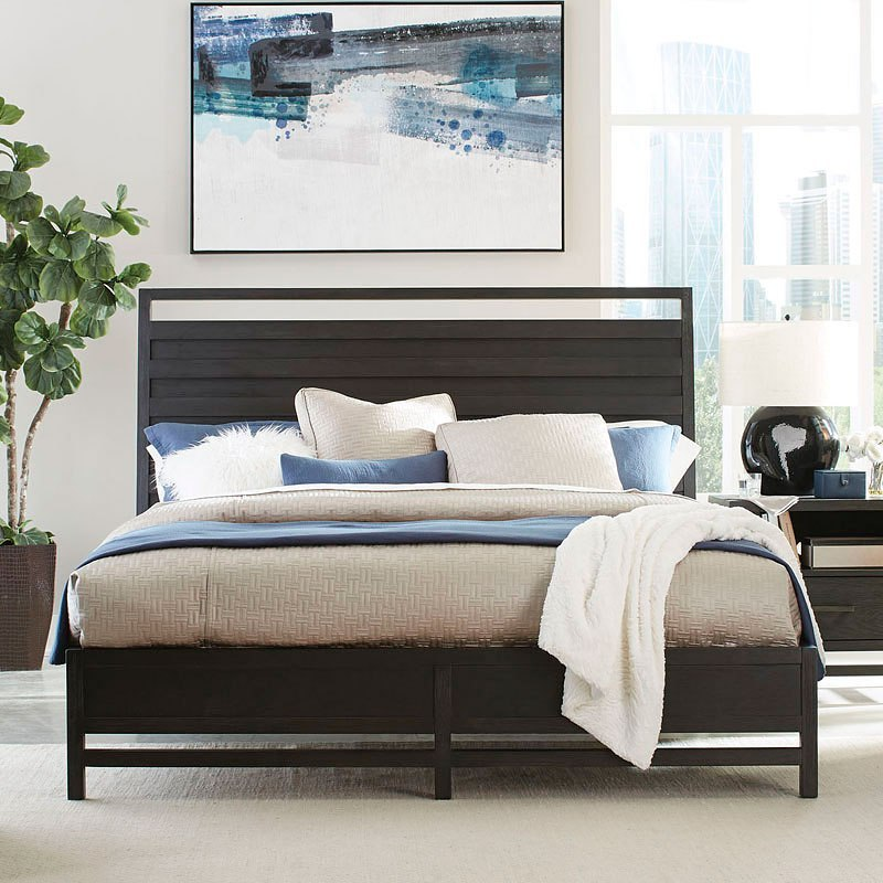 ... Thomas Black Panel Bed (King)
