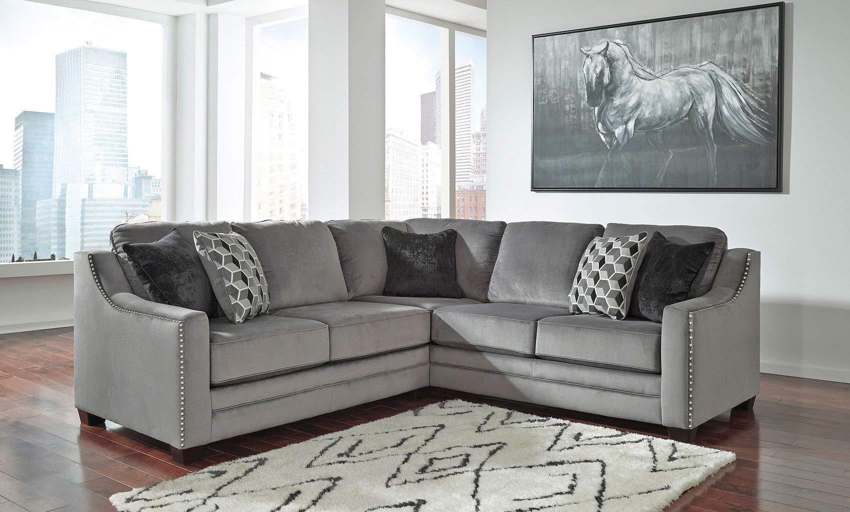Bicknell Charcoal Left Loveseat Sectional Sectionals