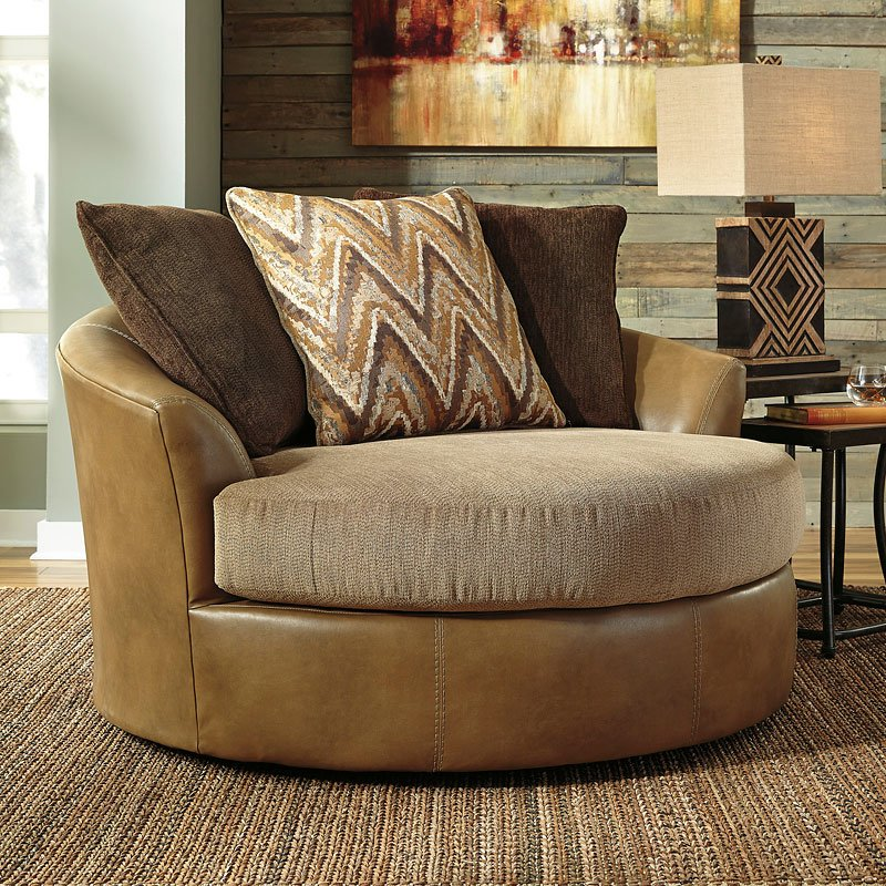 Declain Sand Oversized Swivel Accent Chair By Benchcraft