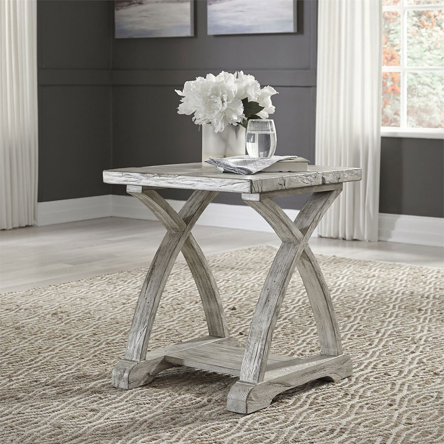 Twin Oaks Chair Side Table (Rustic White) By Liberty