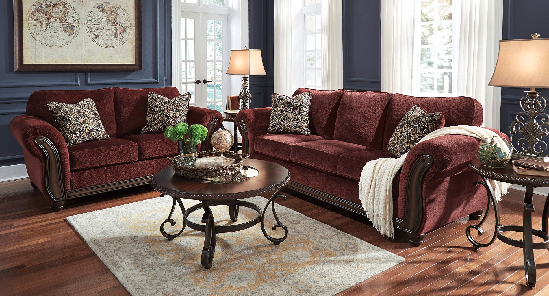 Chesterbrook Burgundy Living Room Set Living Room Sets