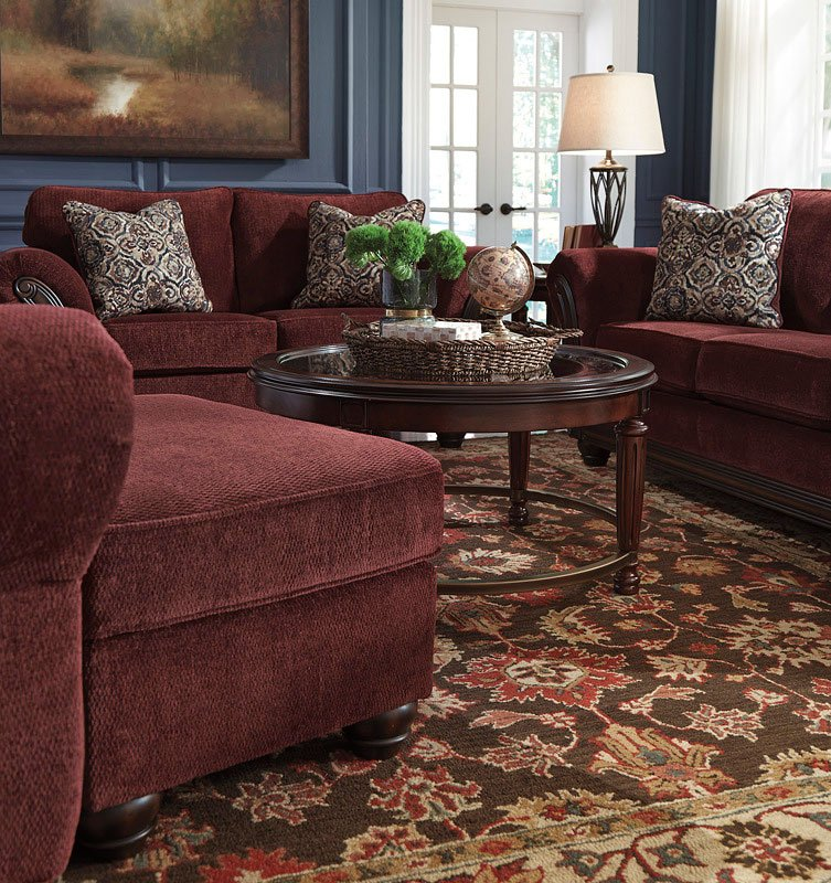 Chesterbrook Burgundy Living Room Set by Signature Design by Ashley ...