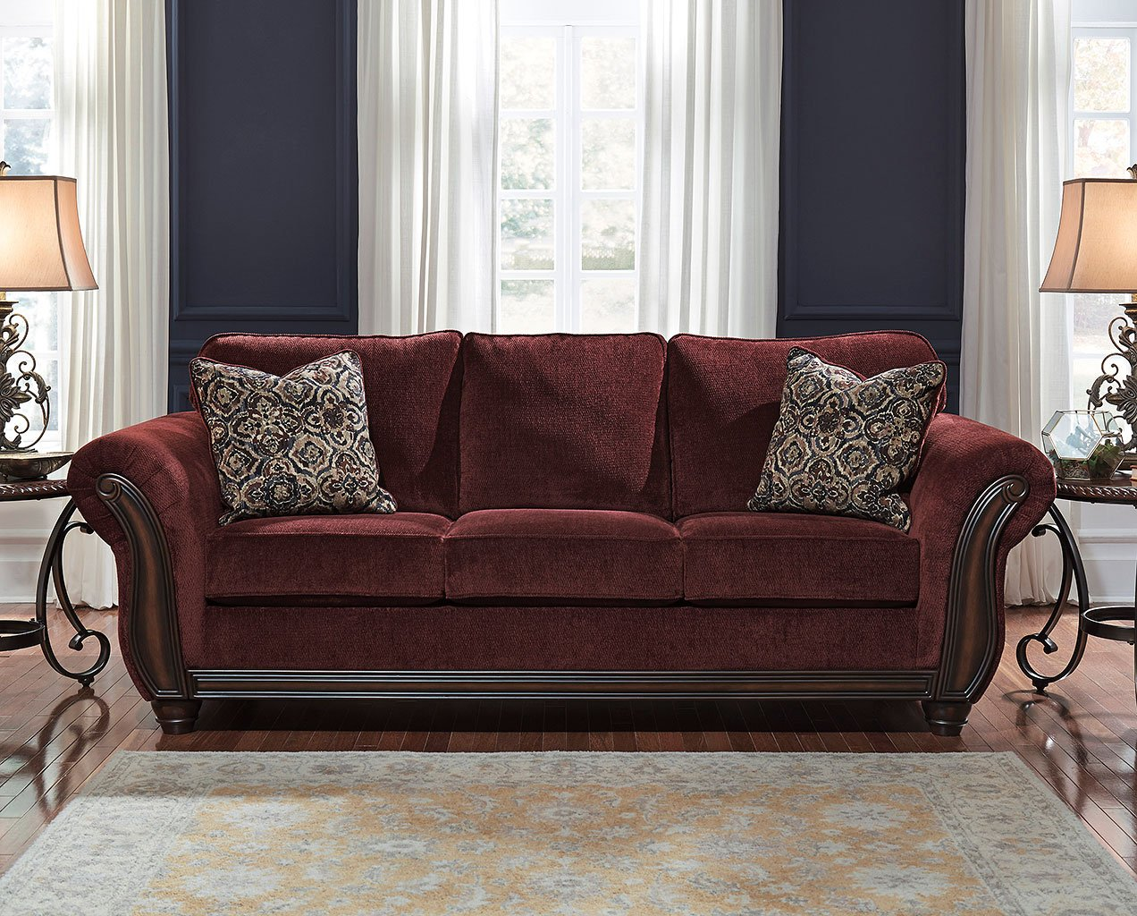 Chesterbrook Burgundy Sofa Sofas Living Room Furniture