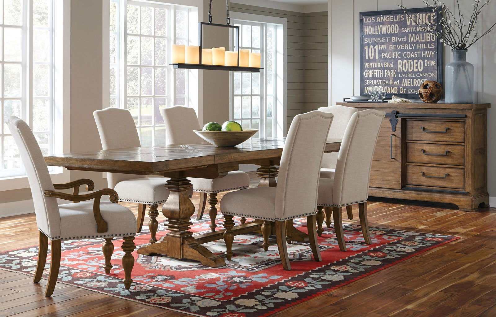 american attitude  pattern dining room set  upholstered chairs  samuel lawrence furniture