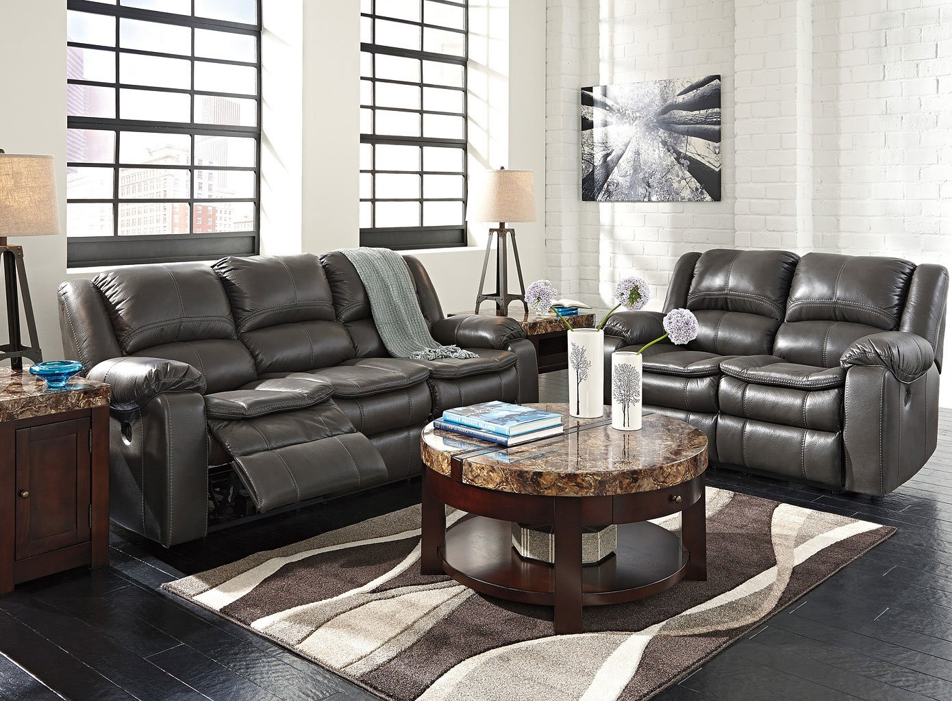 long knight gray reclining living room set w power living room sets living room furniture. Black Bedroom Furniture Sets. Home Design Ideas