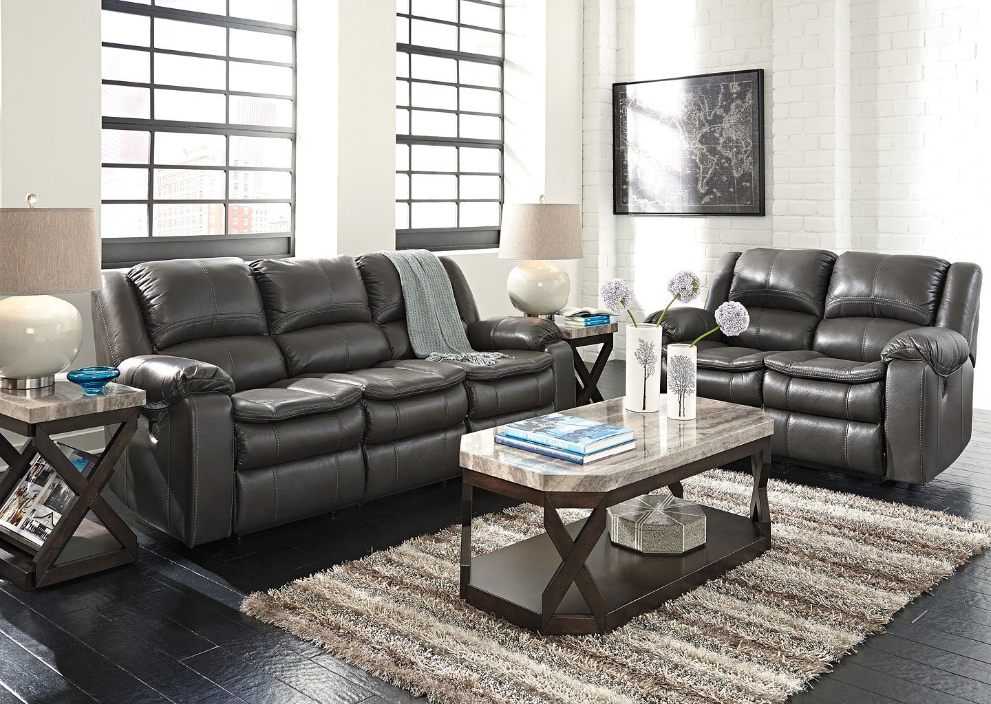 Long Knight Gray Reclining Living Room Set Living Room