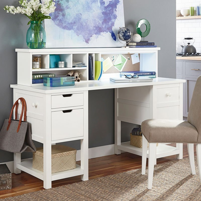 Study Hall Jr Executive Desk W/ Hutch (Natural White Painted) By Legacy  Classic Kids | FurniturePick
