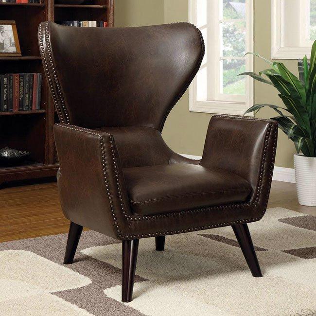 Brown Accent Chair W/ Nailhead Trim