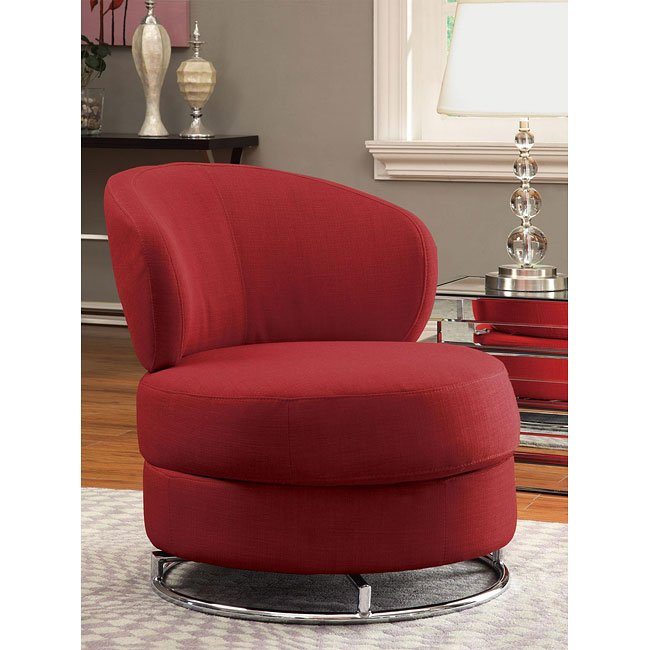 Red Fabric Swivel Accent Chair By Coaster Furniture