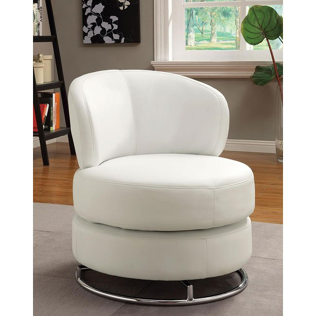 White Vinyl Swivel Accent Chair By Coaster Furniture