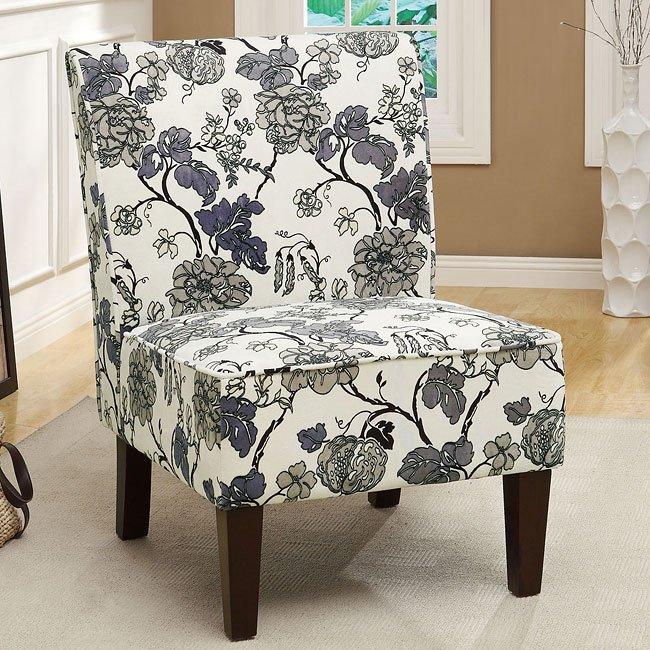 Gray Fl Print Accent Chair
