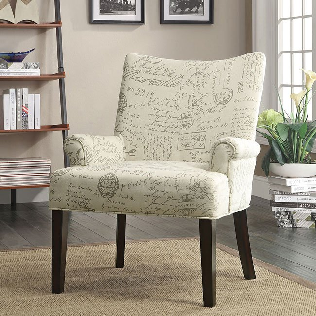 French Script Pattern Accent Chair Coaster Furniture
