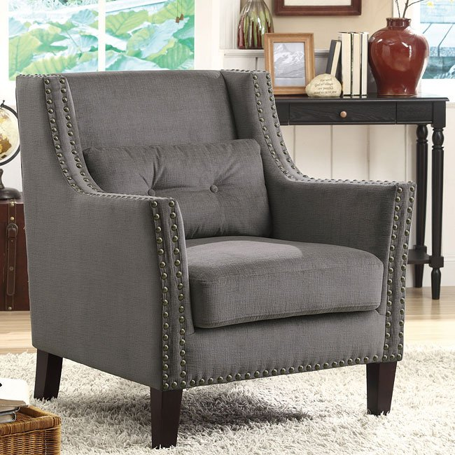 Grey Accent Chair W Nailhead Trim And Pillow