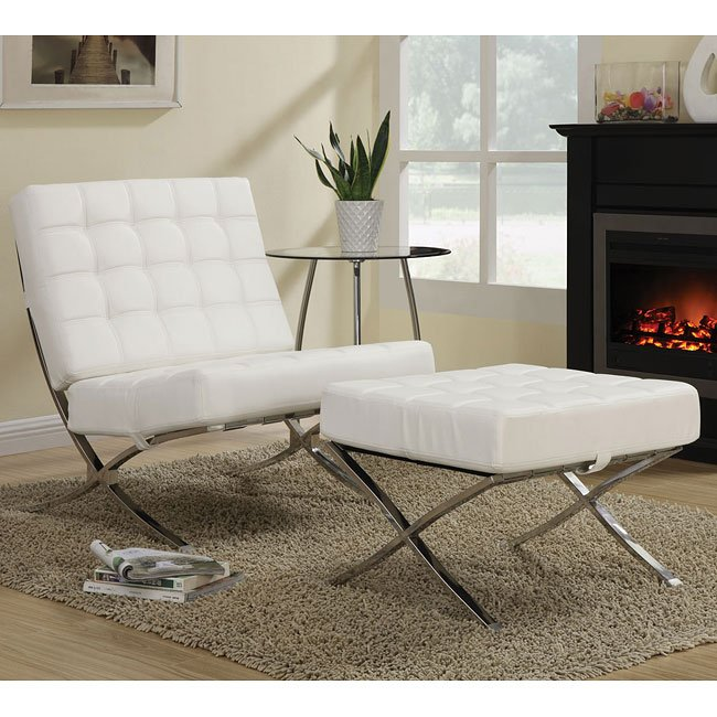 White Waffle Accent Chair W Ottoman Coaster Furniture
